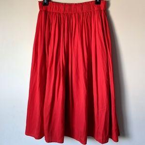 Old Navy Red Tea Length Pleated Skirt